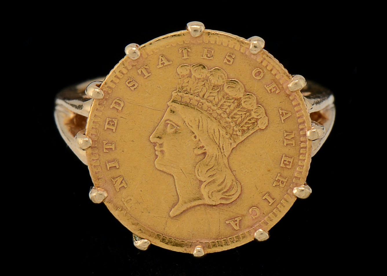 21K Gold Indian Princess e Dollar Coin Ring on 14K Gold Band EBTH