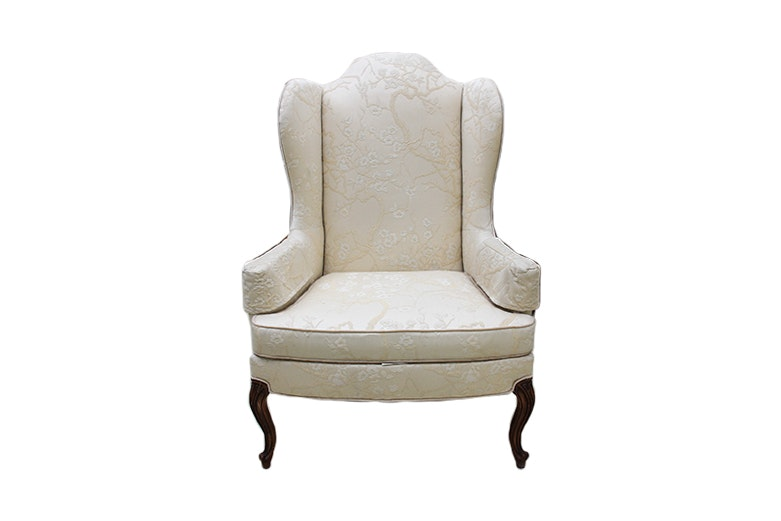 Drexel Heritage Cream Embroidered Wingback Chair ...