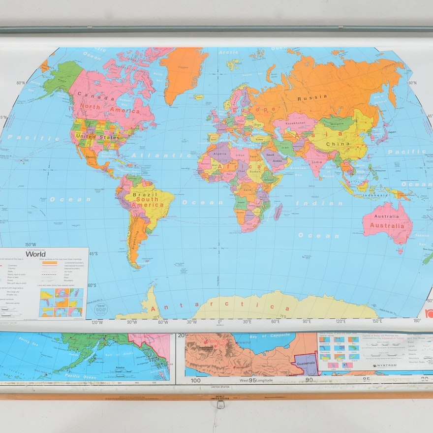 Nystrom World Map.Nystrom World And Us Pull Down Classroom Map Ebth