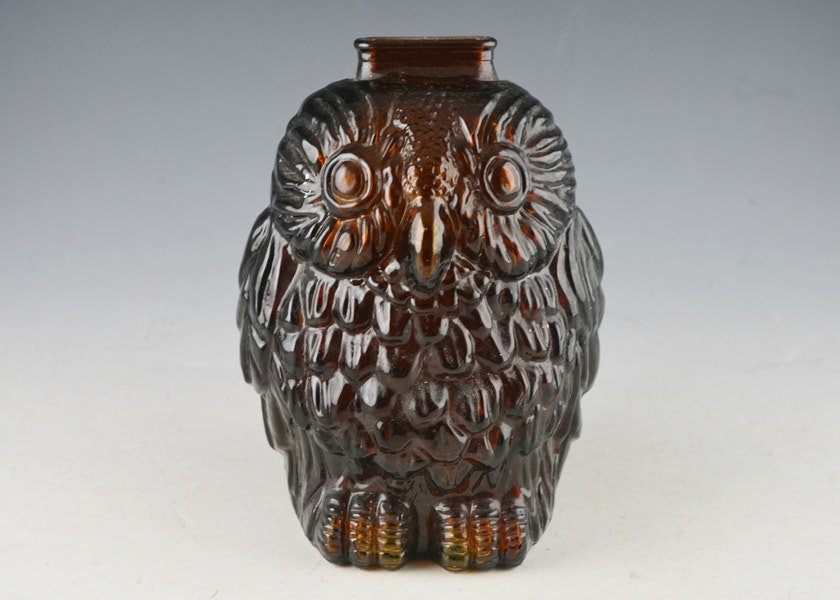 Wise old owl smoked glass coin bank ebth - Wise old owl glass bank ...
