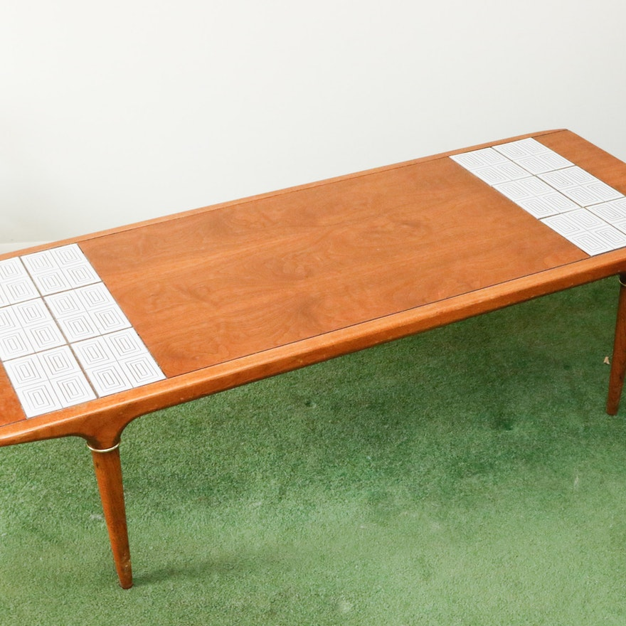 Lane Mid Century Modern Coffee Table With Tile Inlay EBTH - Coffee table with tile inlay