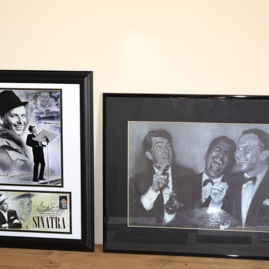 Rat Pack Lithograph and Frank Sinatra Stamp Art in Frame : EBTH