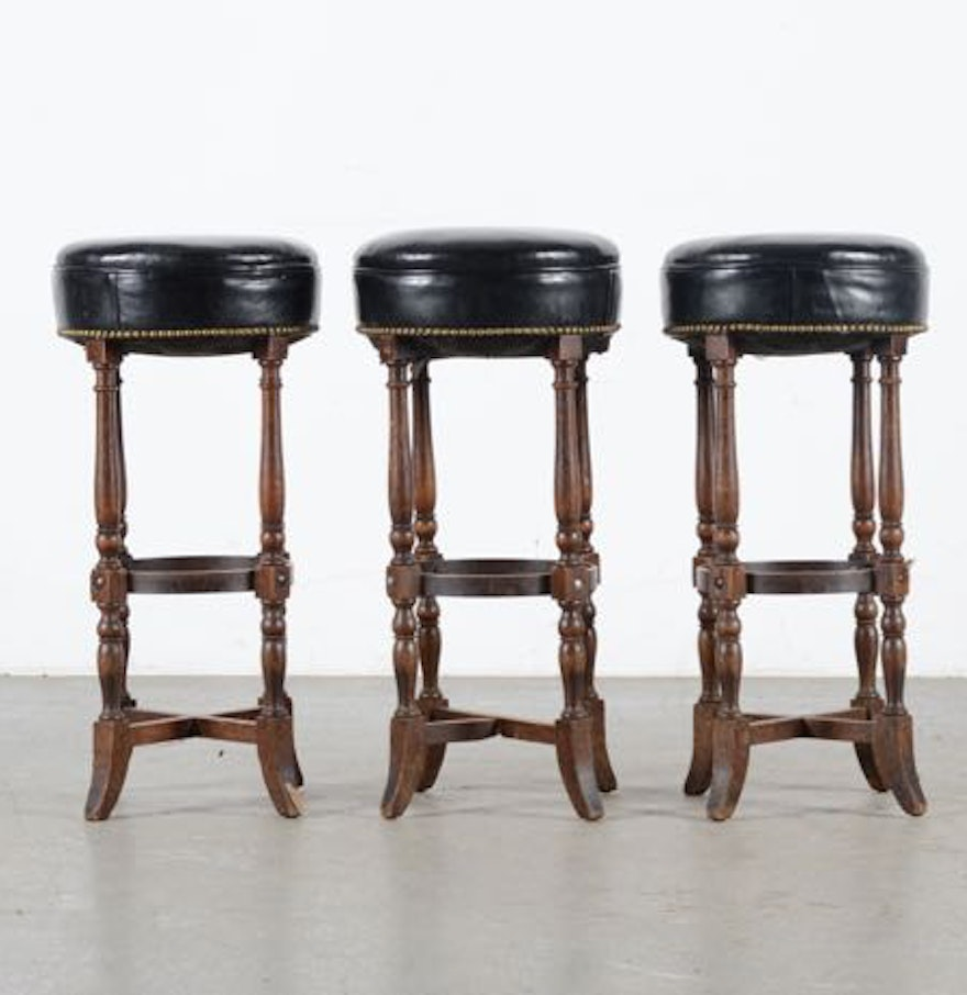 Trio of leather bar stool 39 s with nailhead trim ebth - Leather bar stools with nailhead trim ...