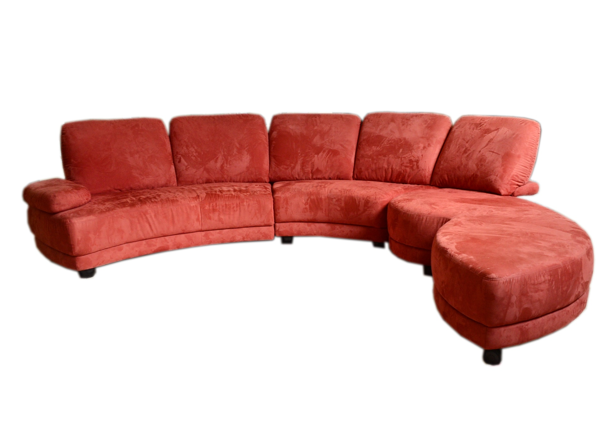 Danish Microsuede Red Contemporary Sofa Ebth