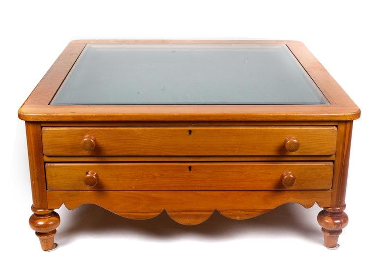 Pine Glass Top Display Coffee Table ...