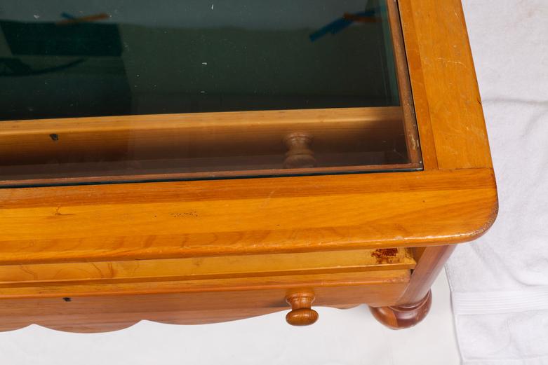 Pine Glass Top Display Coffee Table : EBTH