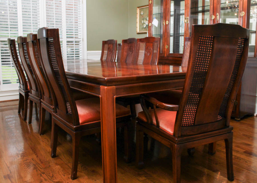 asian style bernhardt dining table and chairs room furniture d