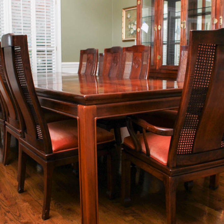 Asian Style Bernhardt Dining Table and Chairs : EBTH
