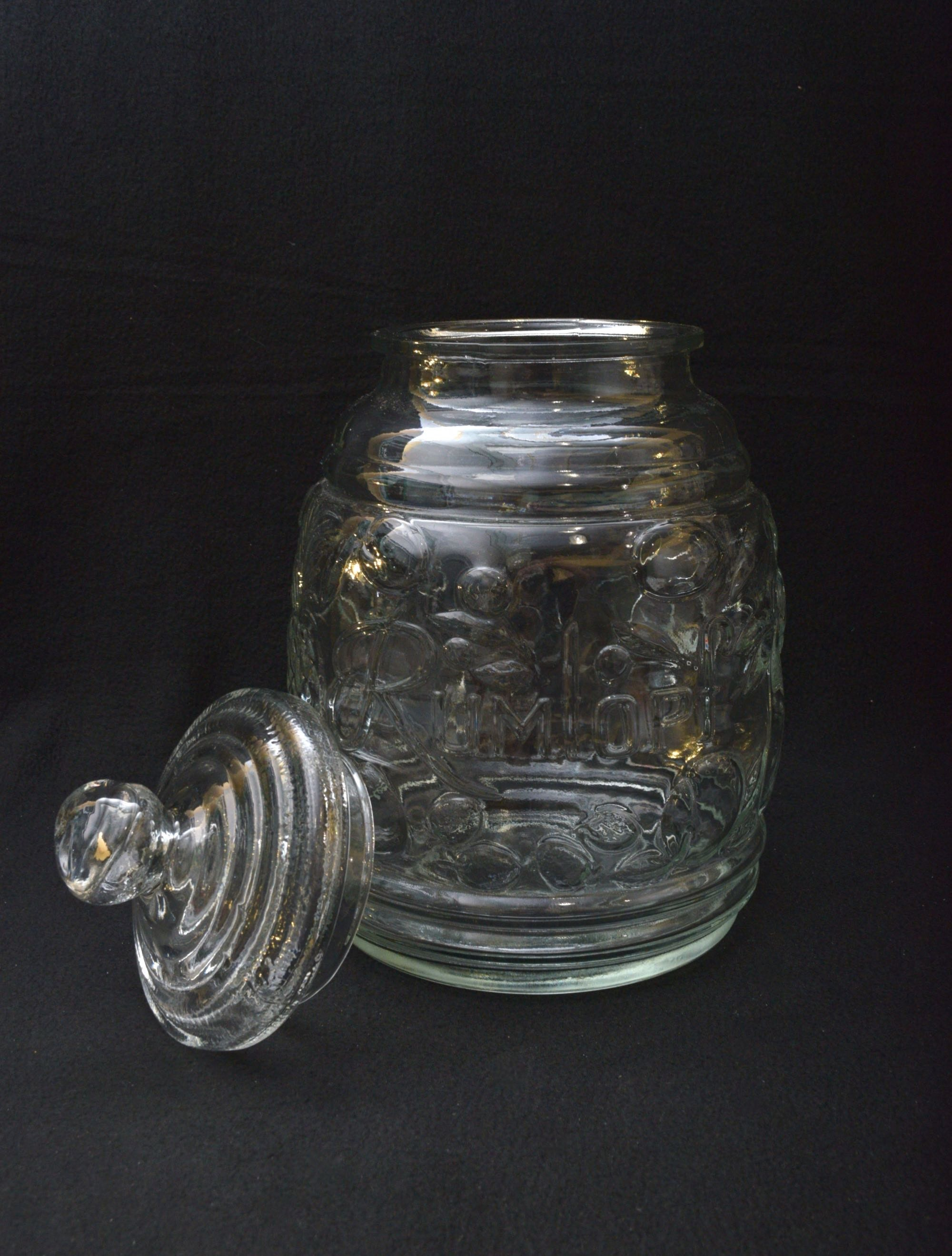 Clear Glass Quot Rumtopf Quot Lidded Jar With Assortment Of