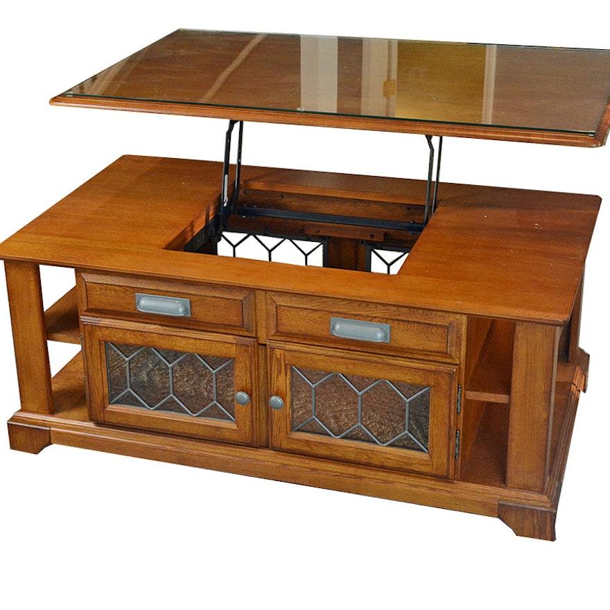 Lift Top Ashley Furniture Oak Veneer Coffee Table Ebth