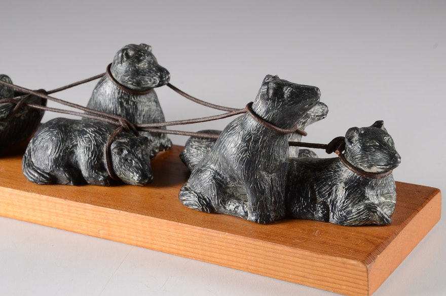 The Wolf Sculpture Inuit Dog Sled Soapstone Carving | EBTH