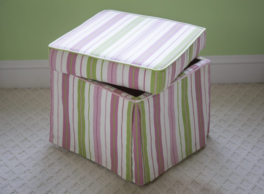 Pink and Green Striped Storage OttomanEBTH