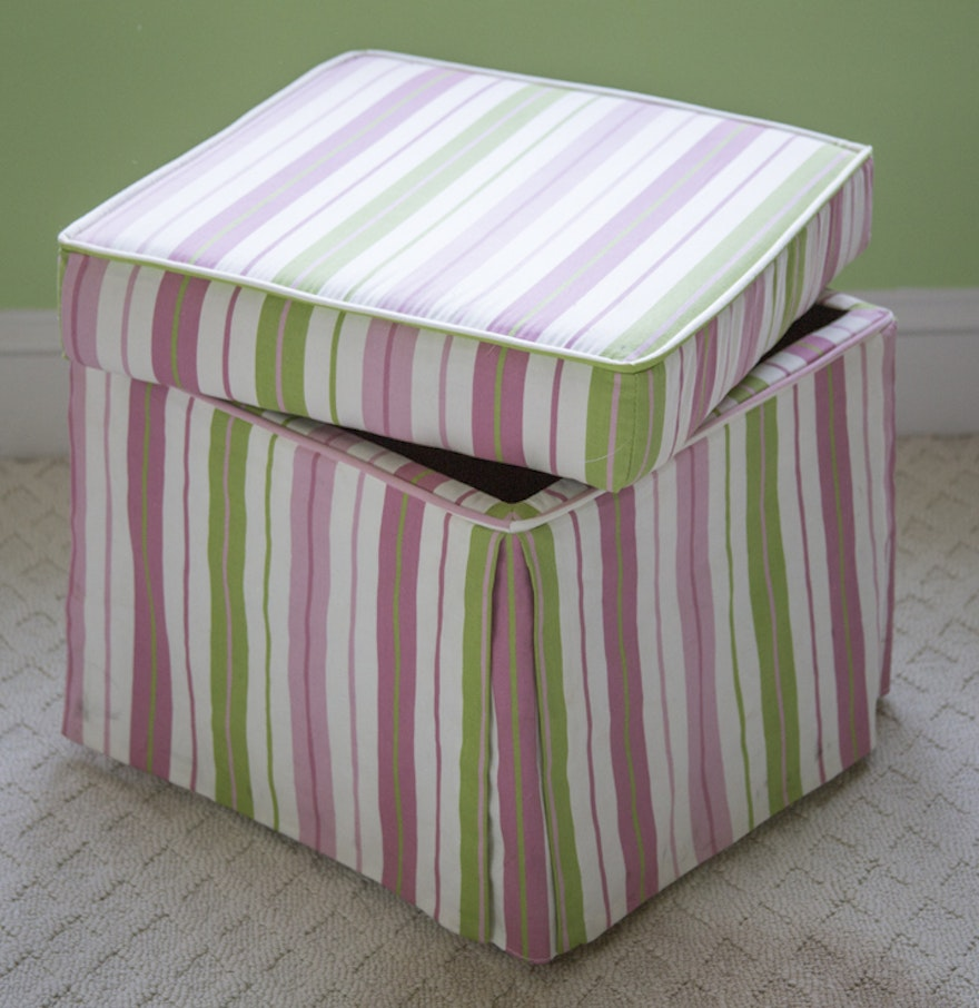 Pink and Green Striped Storage Ottoman ... - Pink And Green Striped Storage Ottoman : EBTH