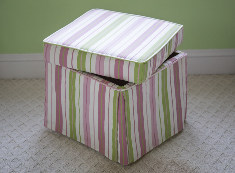 Pink And Green Striped Storage Ottoman ...