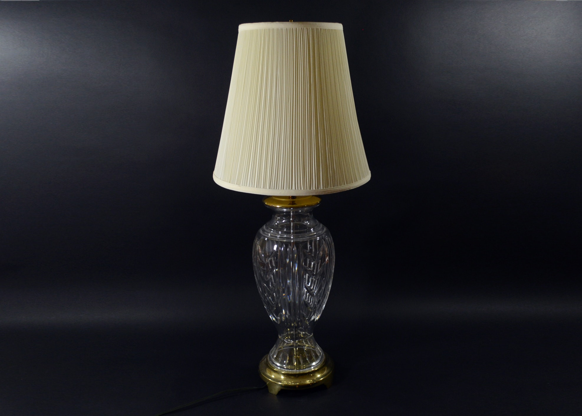 Where To Buy Waterford Crystal Lamp Shades   Waterford Glencar Crystal And  Brass Table Lamp And Shade Ebth