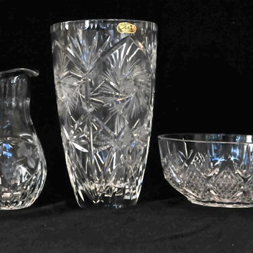 Cristal Darques France Genuine Lead Crystal Vase.Julia Lead Crystal Vase Pitcher And Cristal D Arques Bowl