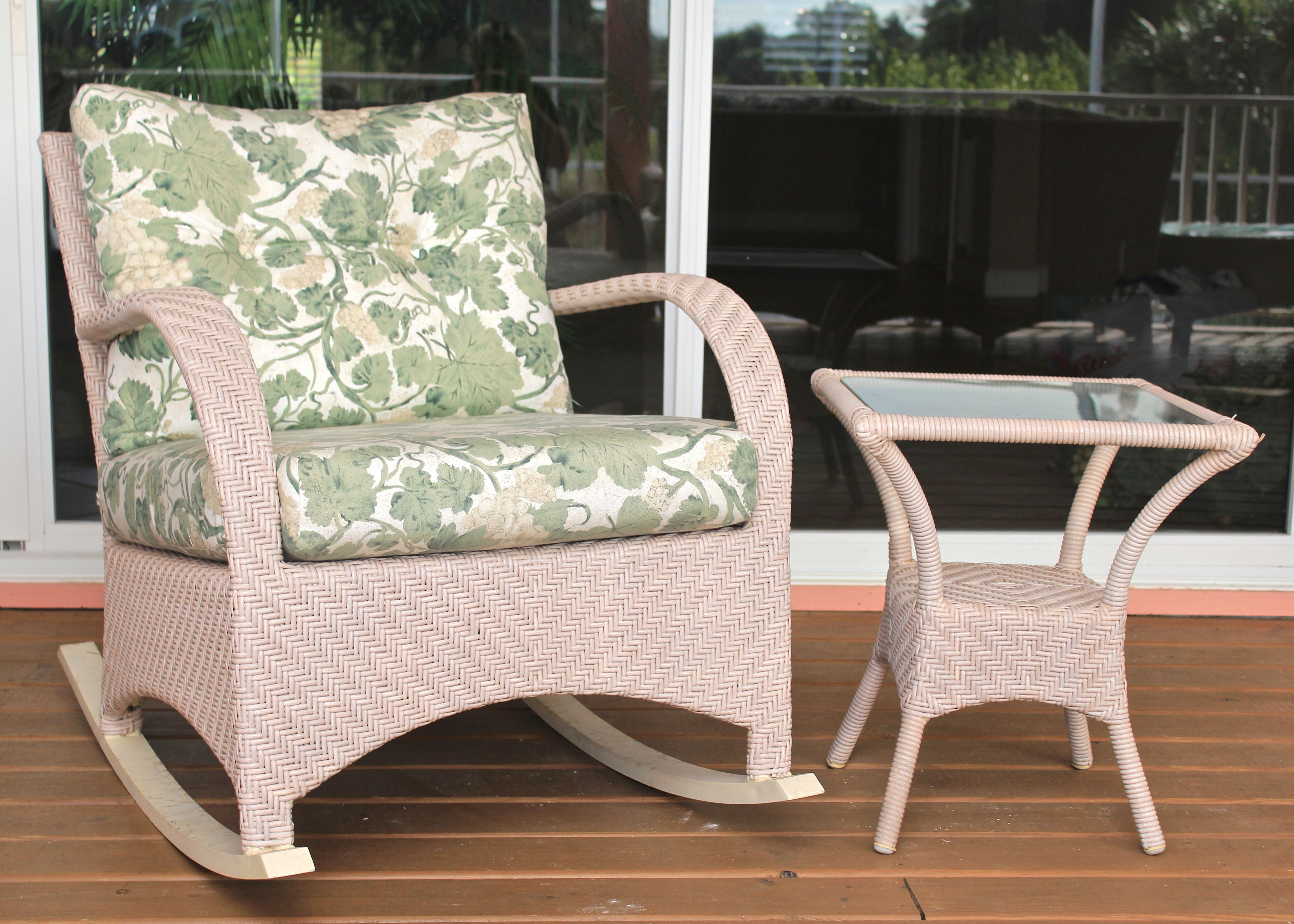 Pale Pink Ebel Outdoor Wicker Rocking Chair and Side Table EBTH