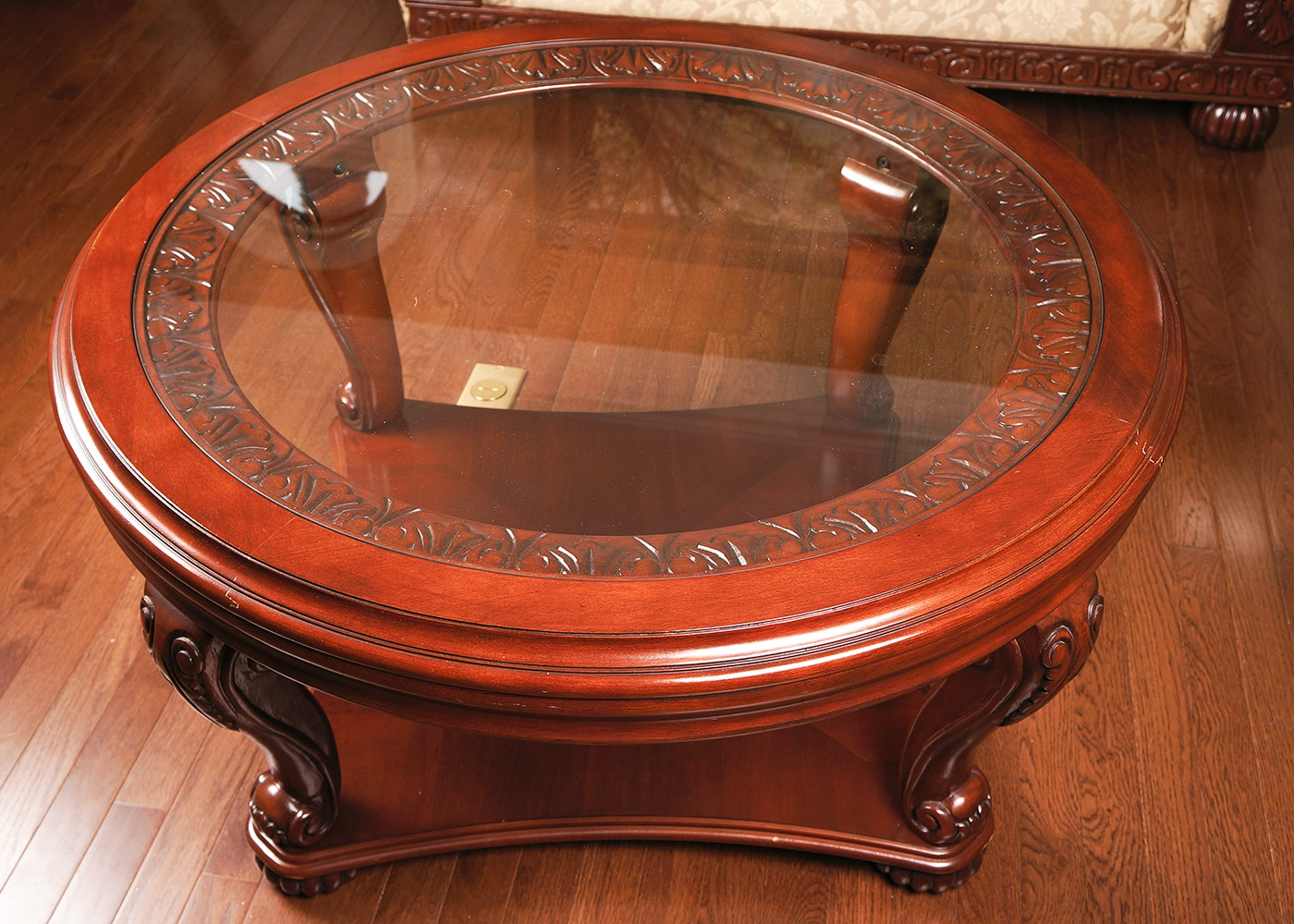 Round Glass Top Mahogany Coffee Table ...