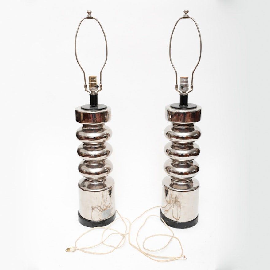 Pair of George Kovaks Style Chrome Painted Lamps