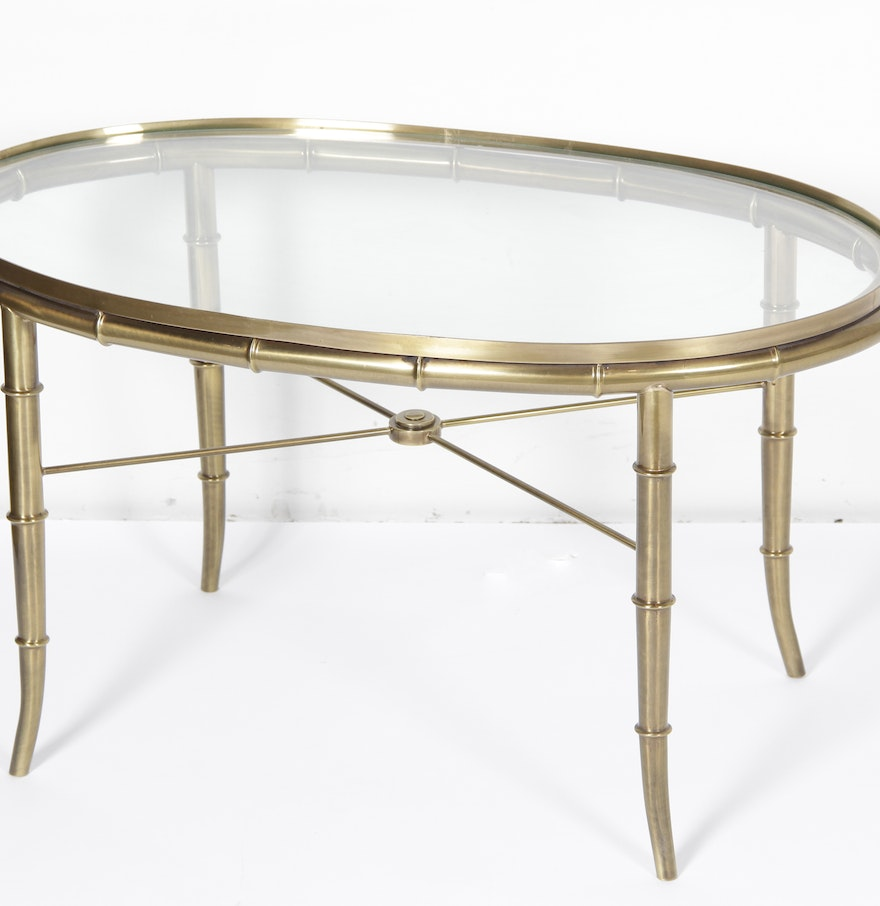 Brass Faux Bamboo Coffee Table: Vintage Mastercraft Brass Faux Bamboo Coffee Table : EBTH