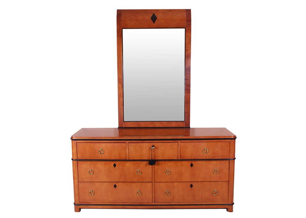 National Mt. Airy Biedermeier Dresser With Attached Mirror