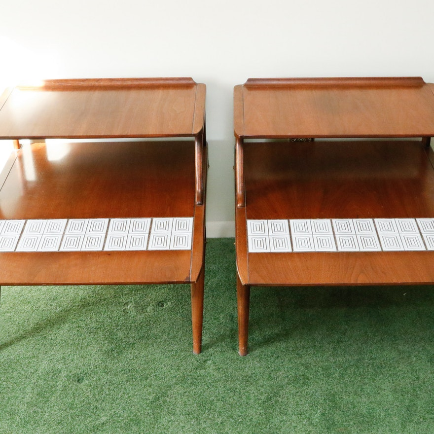 Lane Mid Century Modern End Tables With Tile Inlay Ebth