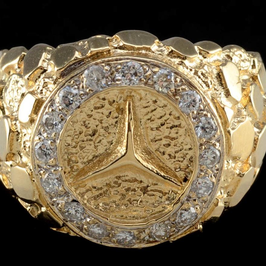 men 39 s 14k yellow gold nugget and diamond mercedes symbol. Black Bedroom Furniture Sets. Home Design Ideas