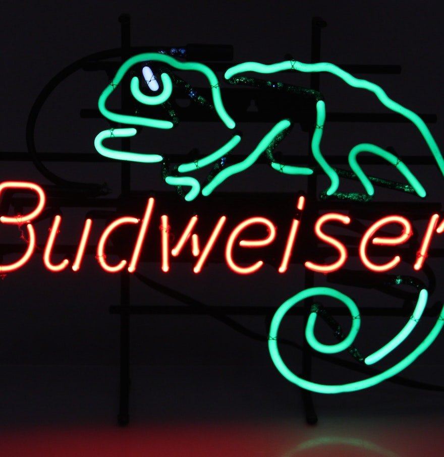 Budweiser Neon Sign with Chameleon : EBTH