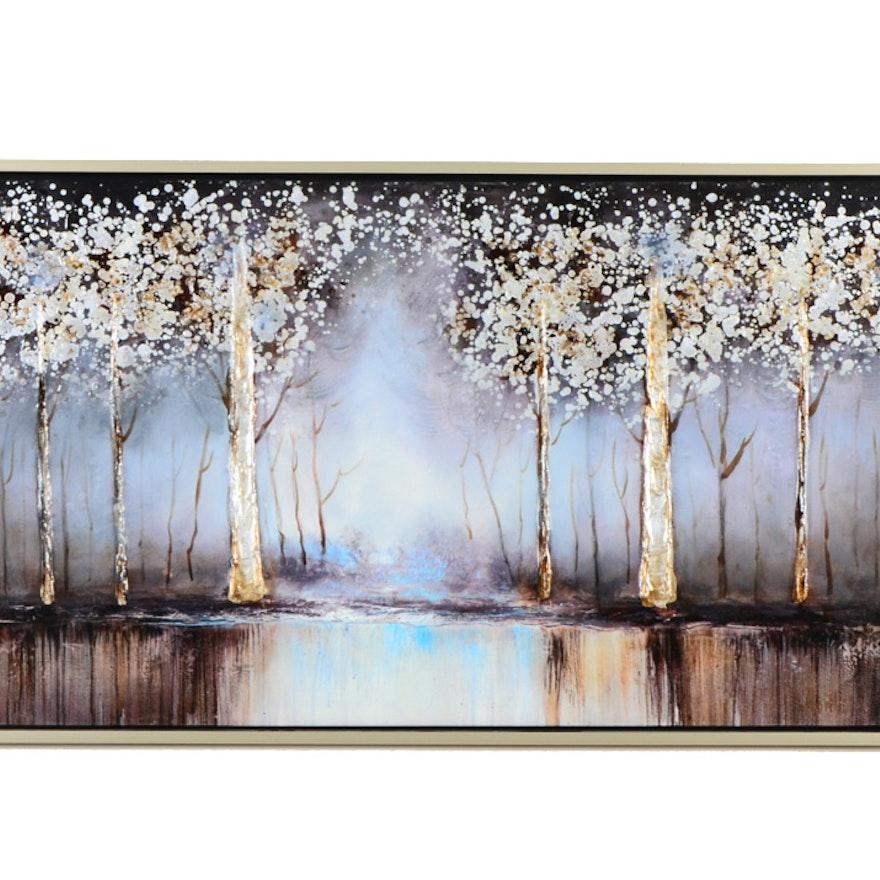Cobalt Tree Canvas Wall Art : EBTH
