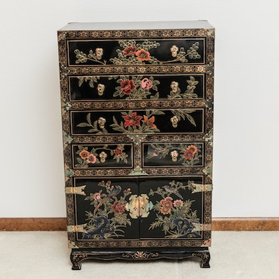 Asian Style Painted Lacquered Chest - Online Furniture Auctions Vintage Furniture Auction Antique