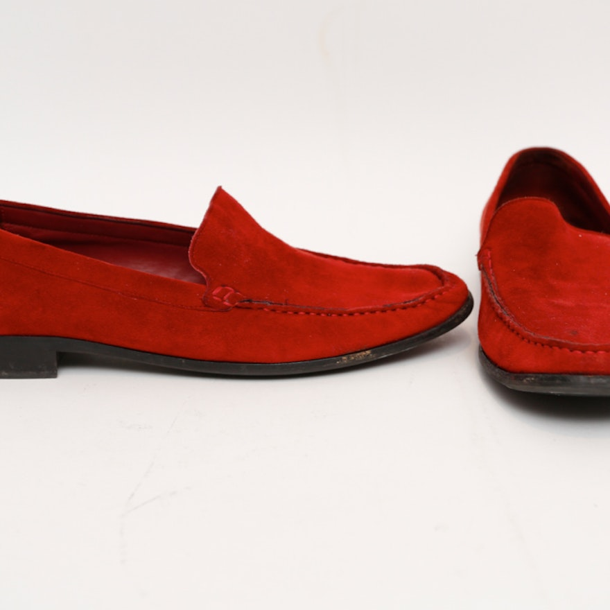 6d1b4ee06f3e Pair of Bally Women s Red Suede Loafers   EBTH