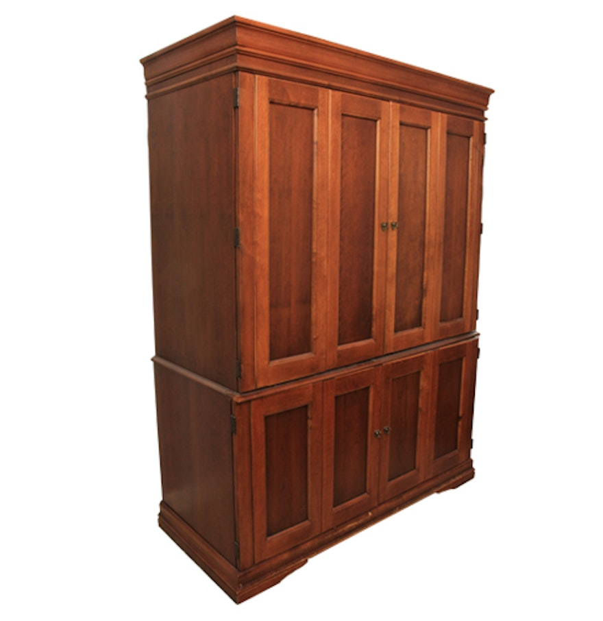 cherry finish bedroom armoire ebth. Black Bedroom Furniture Sets. Home Design Ideas