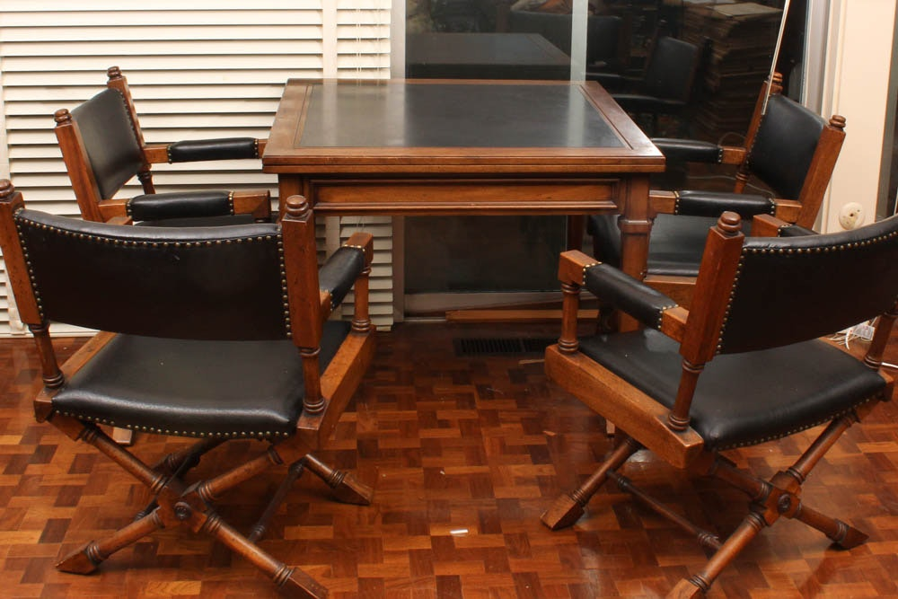 Fruit Wood And Leather Card Table And Chairs Ebth