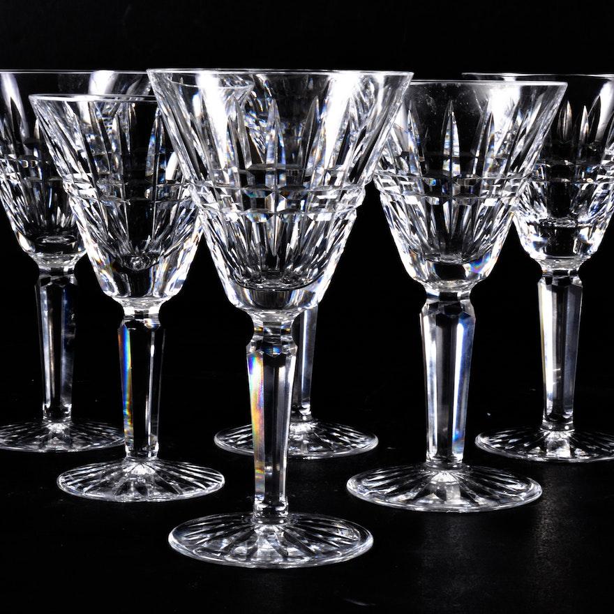 "Six ""Glenmore"" Waterford Crystal Wine Glasses II   EBTH"
