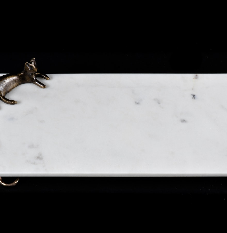 Michael Aram Cat And Mouse White Marble Cheese Board Ebth