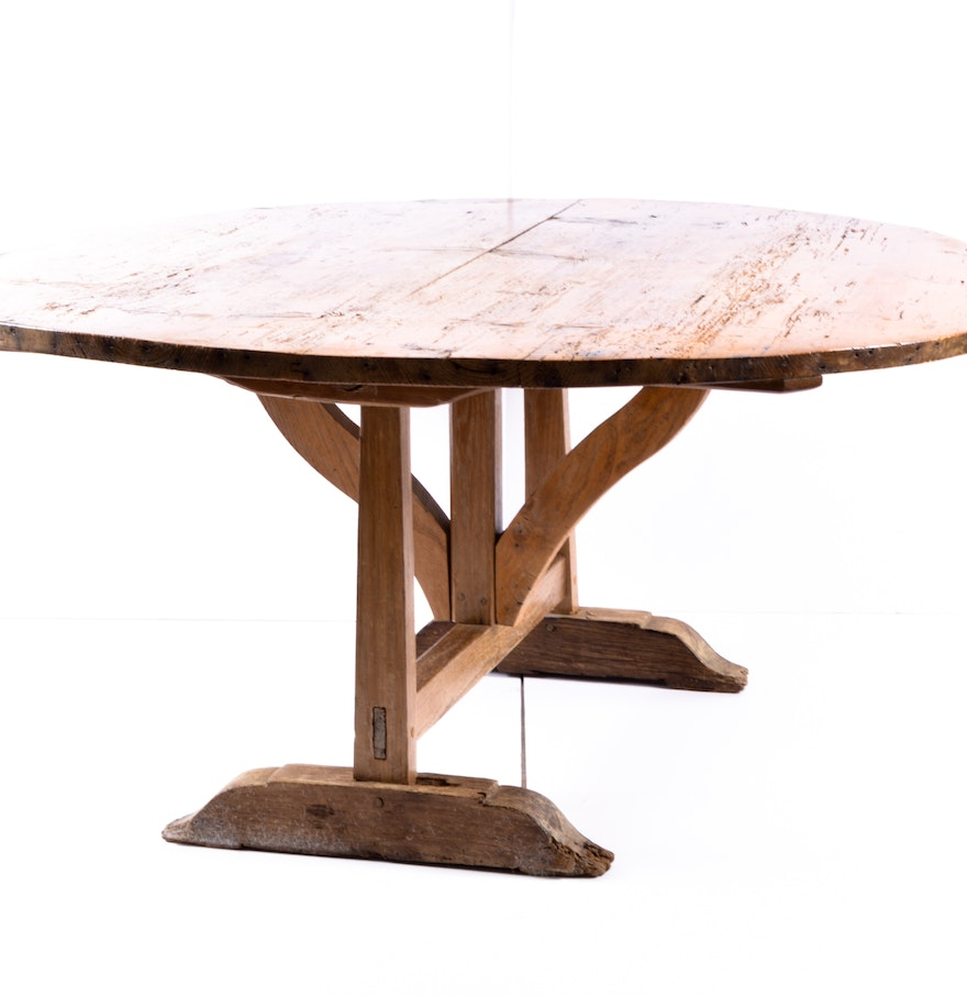 Rustic Oak Round Wooden Trestle Style Coffee Table Ebth