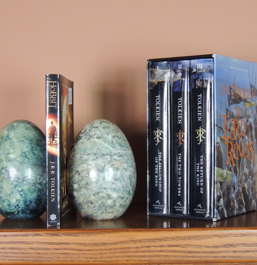 J r r tolkien book set and stone bookends ebth - Lord of the rings bookends ...