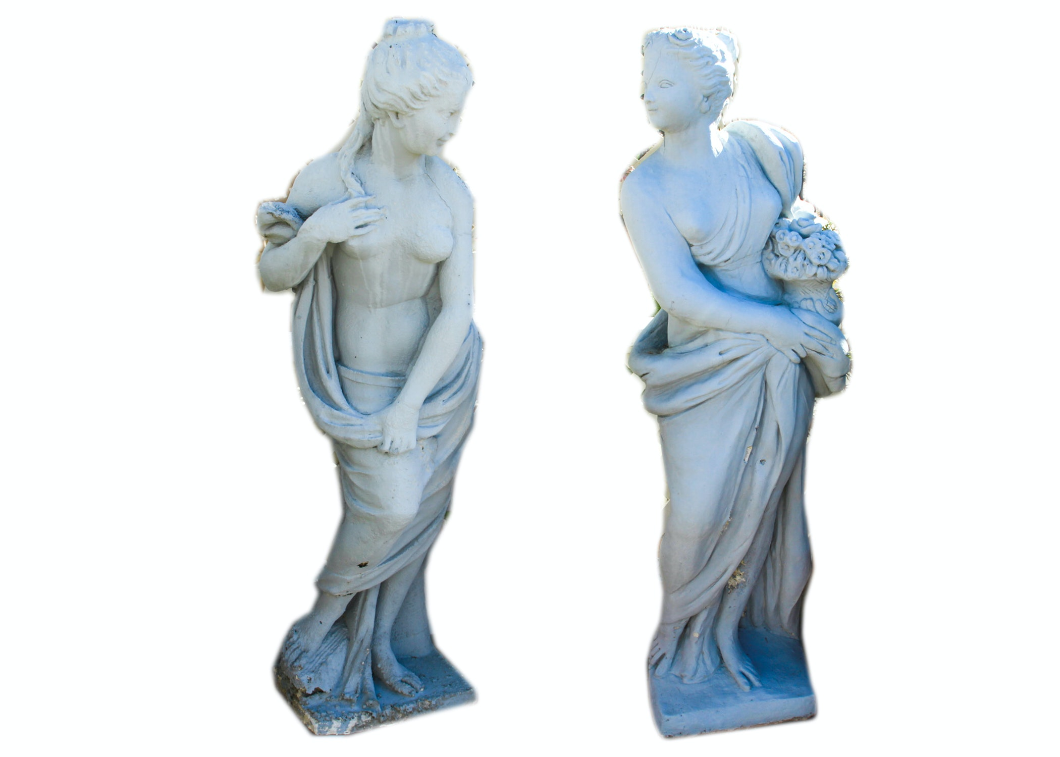 Pair Of Cement Greek Female Garden Statues ...