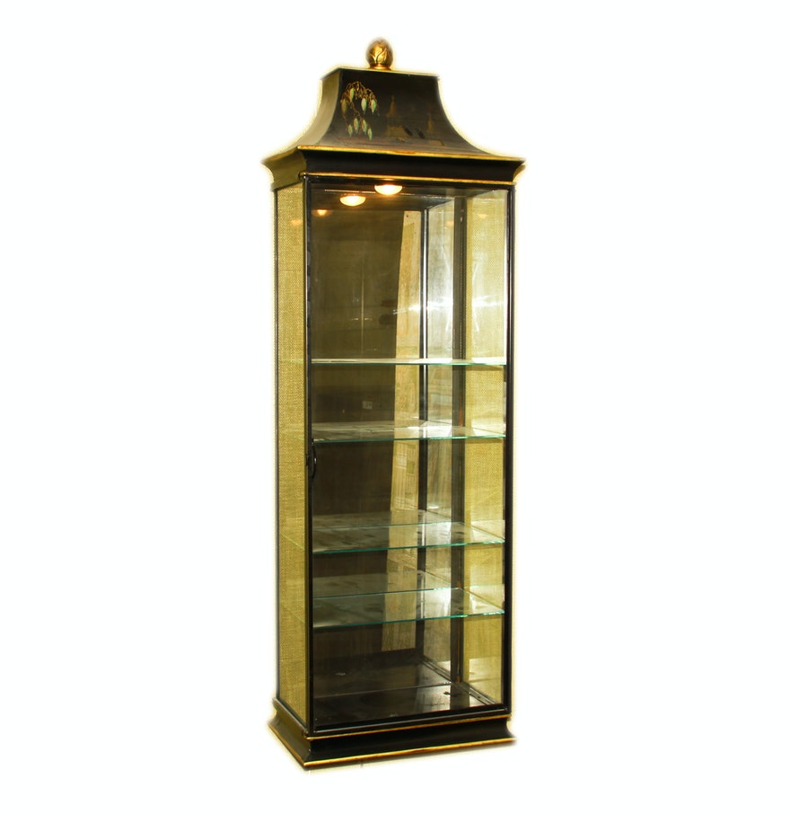 black metal and glass wall mounted display case ebth. Black Bedroom Furniture Sets. Home Design Ideas