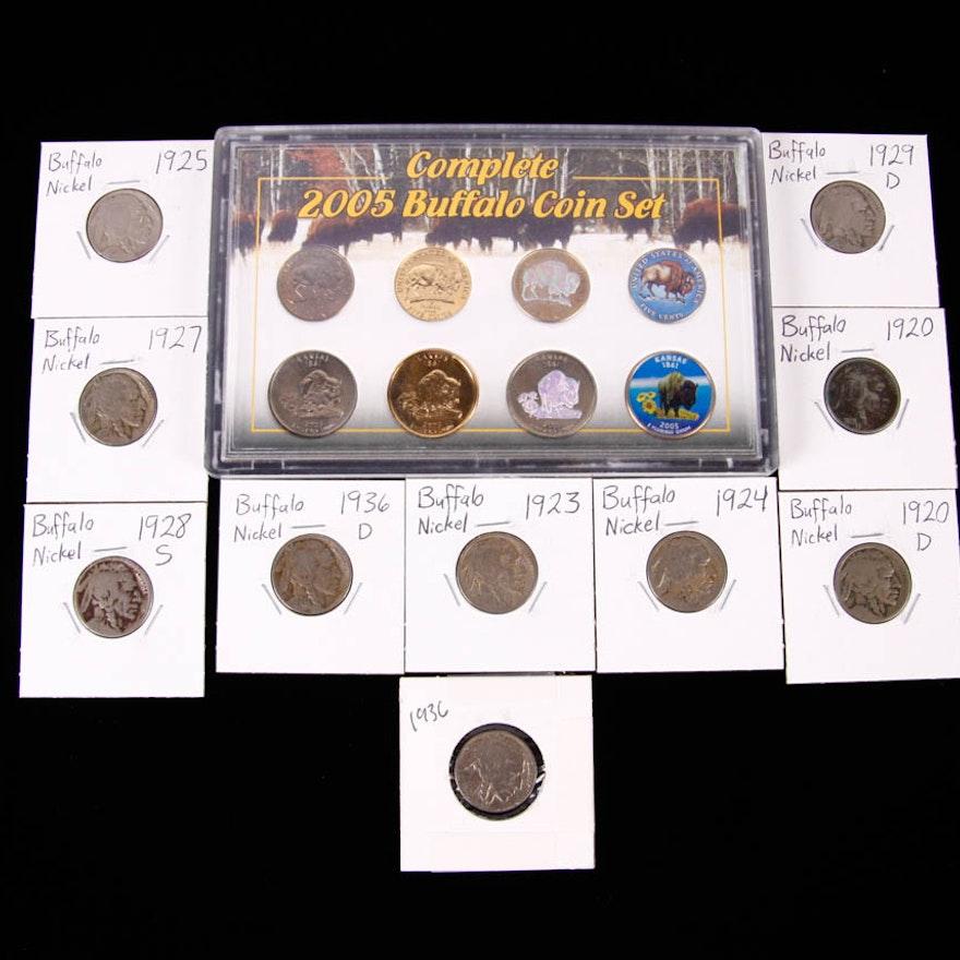 Buffalo Nickels 1920-1936 Collection and 2005 Buffalo Coin Set