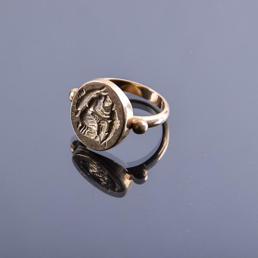 18K Gold Stamp Ring