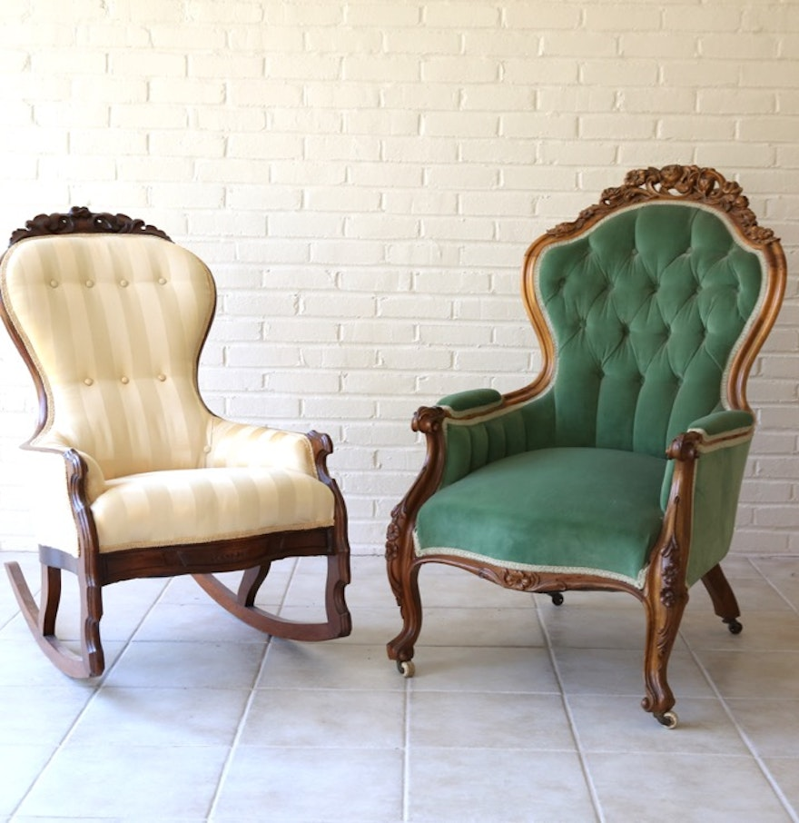 Victorian rocking chair - Antique Victorian Upholstered Armchair And Rocking Chair