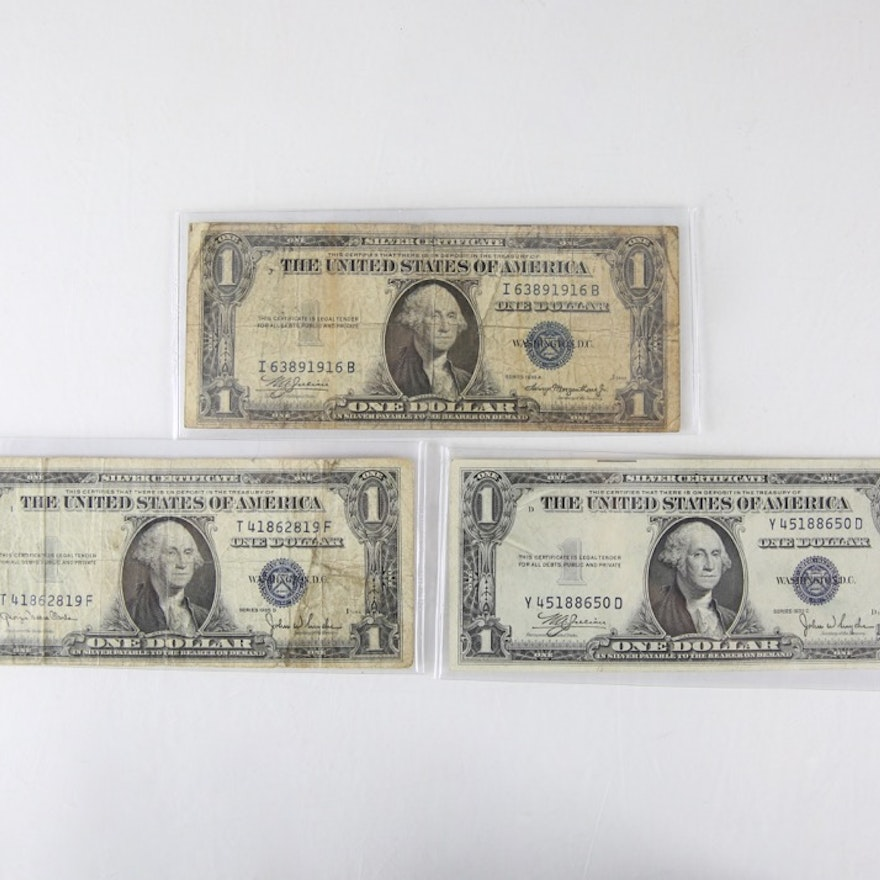 Three 1935 One Dollar Silver Certificates Series A C And D Ebth