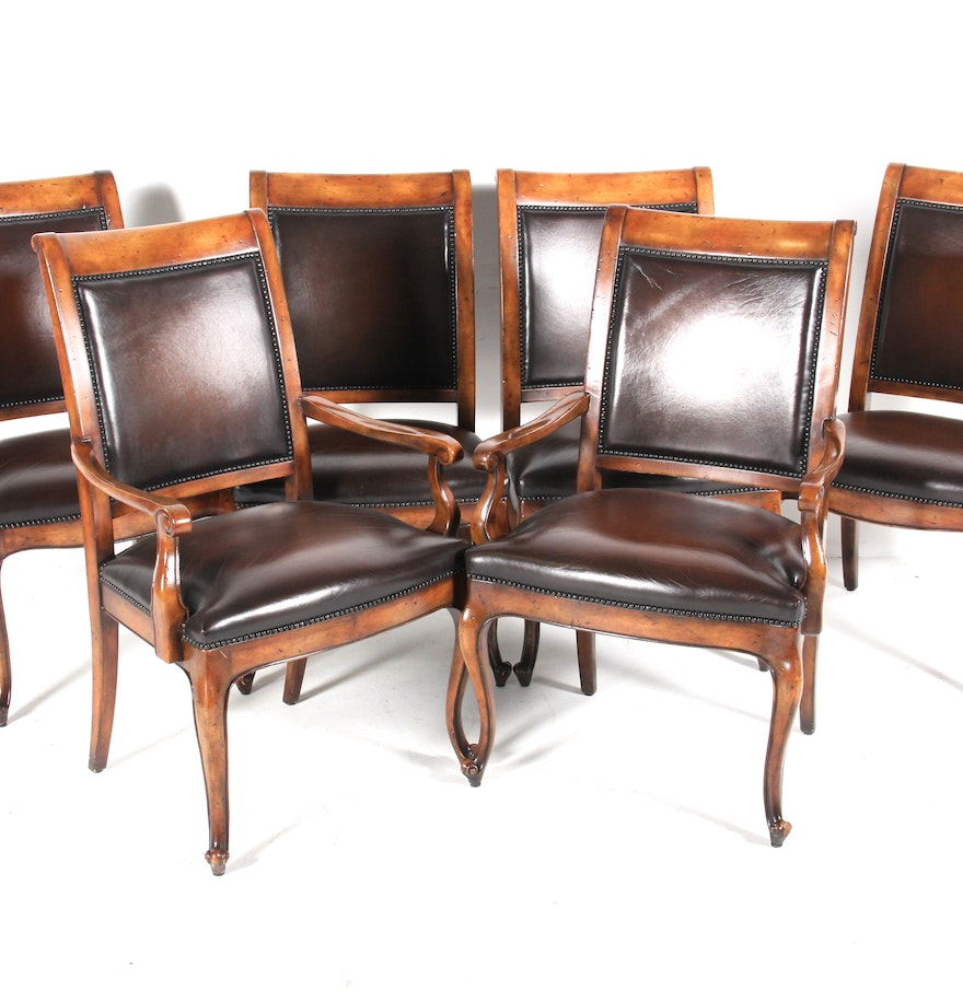 Set of six wood and leather upholstered dining chairs ebth for Wood leather dining chairs