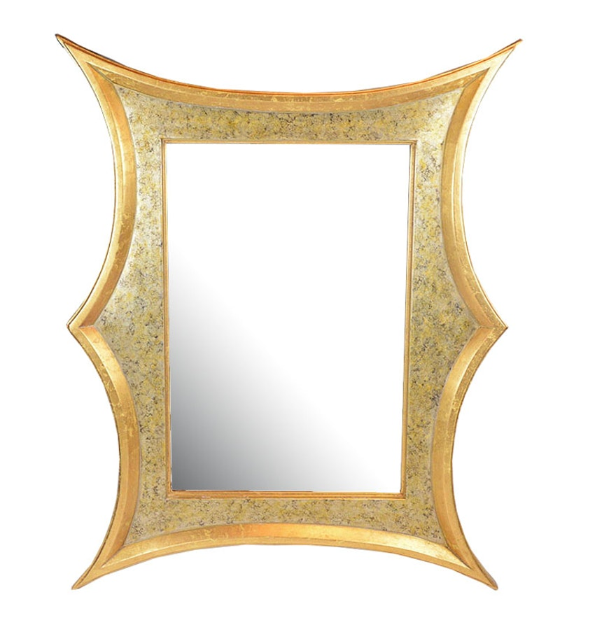 Large Contemporary Distressed Gold Framed Mirror : EBTH