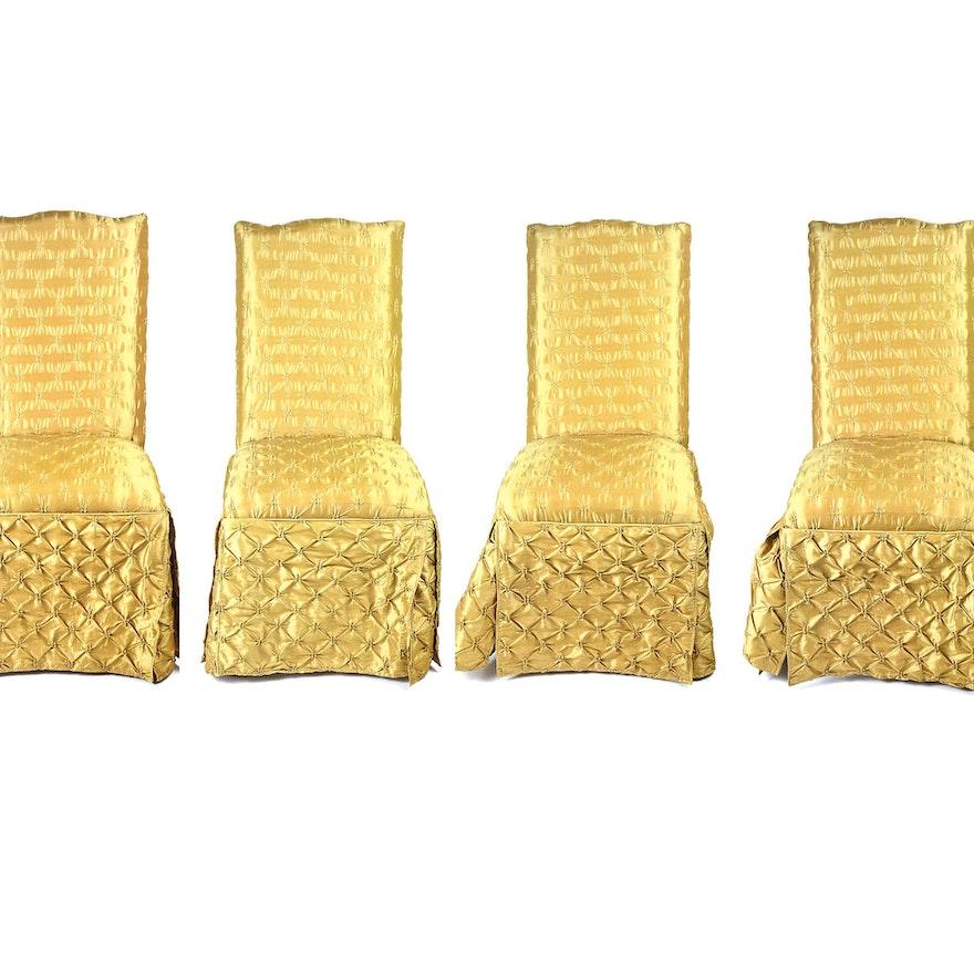 Four Gold Taffeta Button Pintuck Slipper Chairs | EBTH