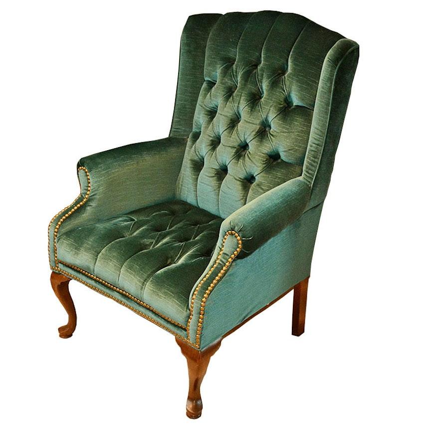 Emerald Green Velvet Wingback Armchair | EBTH