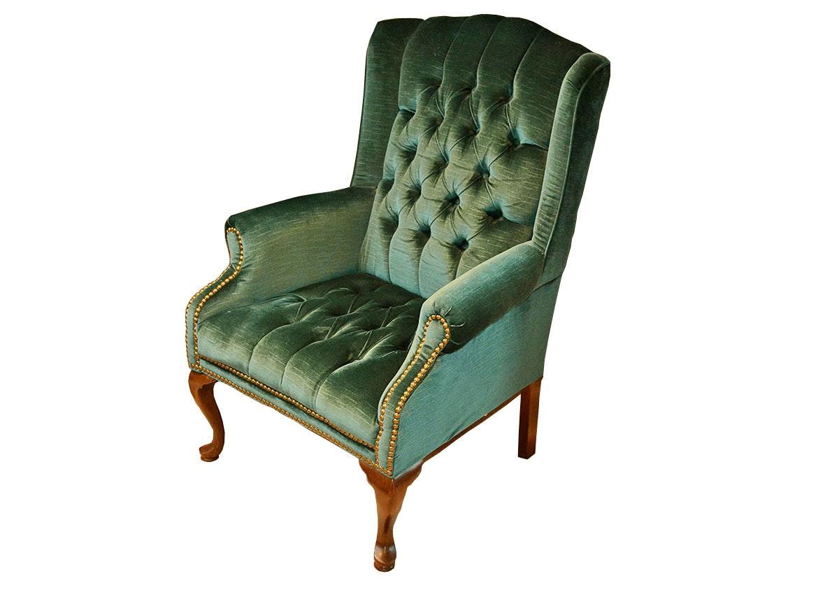Wonderful Emerald Green Velvet Wingback Armchair ...