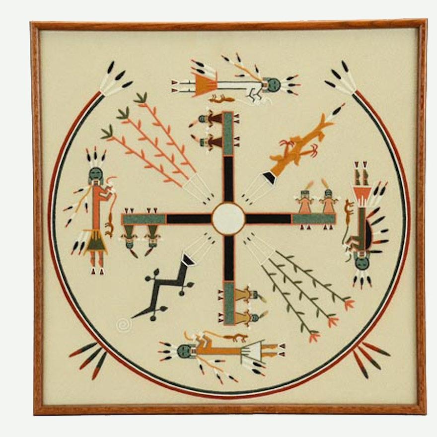 Larry Toledo Original Navajo Sandpainting Whirling Logs Ebth