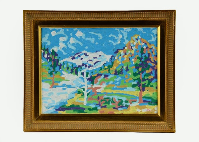 "Tom Lohre ""Squaw Valley Ski Resort II"" Original ""Blob"" Painting"